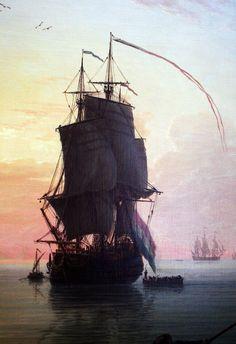 """ A Calm at a Mediterranean Port - The Sailing Ship (detail) Claude-Joseph "" Moby Dick, Old Sailing Ships, Ship Paintings, Wooden Ship, Pirate Life, Nautical Art, Tall Ships, Ship Art, Art Photography"