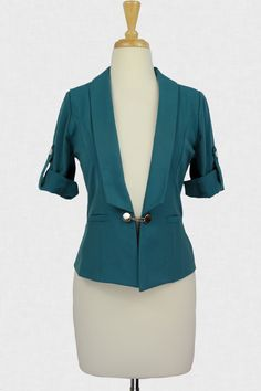 Bit of Flare Blazer :: $34.99 Add a pop of color in a major way to your wear-to-work ensemble with this jacket du jour! Supremely fitted and padded at the shoulders for a chic, ultra-feminine feel, a shawl lapel leads to a strap-button, chain closure and two jetted, faux pockets in front. Short, roll-tab sleeves with silver buttons put the cherry on top of this standout number! Pair with magenta accessories for a 90s throwback feel!