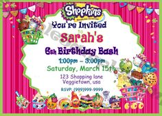 Shopkins Invitation with free thank you by Onesweetwirl on Etsy