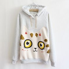 3153298a4d Autumn Winter 2016 Women s Hoodies Printed Cartoon Patch Cat Sweatshirts  Casual Outerwear Fashion Coats Women Pullovers