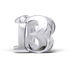 Number 13 Thirteen Birthday Real Sterling Silver Charm Bead