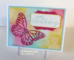 March Butterfly Bokeh by Laurel Card Making Tips, Card Making Techniques, Handmade Birthday Cards, Handmade Cards, Crafts For Boys, Butterfly Cards, Flyer, Card Tags, Scrapbook Pages
