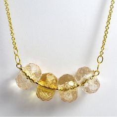 Vintage Gold and Amber Bead Necklace by TashaHussey