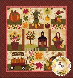 Blessings of Autumn block of the month quilt kit by Shabby Fabrics Quilt Kits, Quilt Blocks, Quilting Projects, Quilting Designs, Quilting Ideas, Embroidery Designs, Sewing Projects, Shabby Fabrics, Halloween Quilts