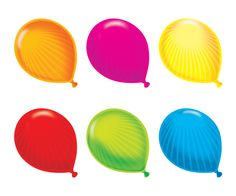 """Balloons always conjure up """"good times"""" and celebrations. Use this """"feel good"""" feeling to energize spaces in your school. These accents look super cool with curly ribbon attached to the end, bunched together as one large cluster Class Decoration, Personalized Stickers, Game Pieces, Classroom Themes, The Conjuring, Birthday Celebration, Balloons, Wall Decor, Display"""