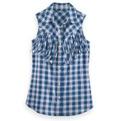 Fringed Sleeveless Plaid Shirt - Cute
