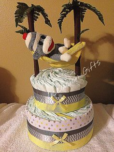 Sock Monkey Diaper Cake by NicasOccasionGifts on Etsy