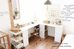 white studio, neatly organised desk and storage caddy Ikea Regal, Japanese Interior, Interior Decorating, Interior Design, Shabby Chic, House Rooms, Home Organization, Room Interior, Home Kitchens