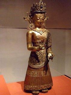 The Buddha Dipankara 1600-1700 Nepal Gilt Copper Repousse