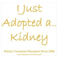 2009 Adopted Kidney Transplant by LakeCottageDesigns - CafePress Living Kidney Donor, Organ Donation, Kidney Health, Chronic Kidney Disease, Kidney Failure, Dialysis, Anxiety Relief, In This World, Green Ribbon