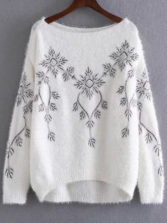 Sequins Embroidered Mohair Sweater - WHITE ONE SIZE