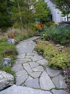 Flagstone walkway with organic edge | Sparks\' Landscape Concepts ...