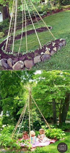 Garden design ideas | This Sweetpea Teepee is so much fun to grow with your littles. - Living Willow Playhouse Every Kid Wants to Have