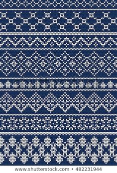 Vector Illustration of Ugly sweater seamless Pattern for Design, Website, background, Banner. Merry christmas Knitted Retro cloth with Snowflake Element Template Fair Isle Knitting Patterns, Fair Isle Pattern, Knitting Designs, Knitting Stitches, Cross Stitch Borders, Cross Stitch Flowers, Cross Stitch Designs, Fair Isle Chart, Kantha Stitch