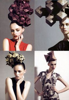ORIGAMI ARTIST AND FREELANCE INSTRUCTOR IN SINGAPORE: ORIGAMI FASHION HATS A TRENDY SELECTION INDEED !!!!!!! HATS FASHION WEEK ON ORIGAMILOVE -DAY 1