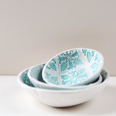 Make these cute stamped bowls using air dry clay.