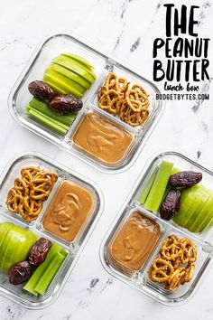 This peanut butter lunch box is an easy no-cook lunch idea for school, work, picnics, or road trips! No reheating needed! Budgetbytes.com Vegetarian Meal Prep, Healthy Meal Prep, Vegetarian Recipes, Healthy Lunches, Healthy Foods, Apple Sandwich, Peanut Butter Sandwich, Road Trip Food, Road Trips