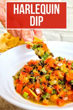 Move aside salsa, this Harlequin Dip is sure to attract all the chips at your next get-together. A quick and easy dip that is always a huge hit! #harlequindip #appetizer Best Appetizer Recipes, Dinner Recipes Easy Quick, Yummy Appetizers, Dip Recipes, Side Dish Recipes, Brunch Recipes, Easy Meals, Tapas Dishes, Food Dishes