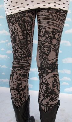 Gray Witch Leggings SMALL by PrettySnake on Etsy, $48.00