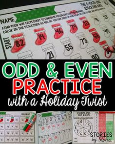 Students can practice odd and even numbers during the month of December with this stocking-themed math set.