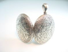 Engraved Sterling Photo Locket Antique by bohemiantrading on Etsy, $345.00