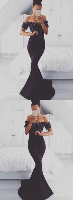 Black prom dress,mermaid prom dress,lace prom dress,long prom dress,off shoulder black evening dress