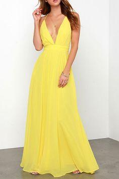 Yellow Chiffon Spaghetti Straps Maxi Dress