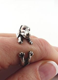 Silver Dachshund Wrap Ring