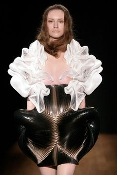 Collaboration between designer Iris van Herpen and architect Daniel Wildrig / via