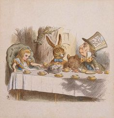 "Sir John Tenniel's hand-colored proof of The Mad Tea Party for The Nursery ""Alice"", ca. 1889, by Charles Lutwidge Dodgson (Lewis Carroll) / The Morgan Library & Museum"