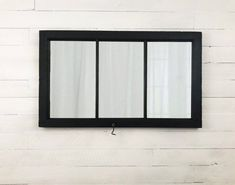Your classic style will show through with this beautiful window frame mirror. A classic black wall mirror enhances the look of any room. Your rustic wall mirror will be truly unique because our mirrors are always made from authentic upcycled materials and Farmhouse Bedroom Decor, Rustic Farmhouse Decor, Rustic Decor, Farmhouse Style, Black Wall Mirror, Rustic Wall Mirrors, Black Kitchens, Kitchen Black, Kitchen Window Bar