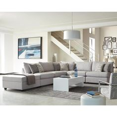 Luxury Art Deco Style Living Room Decor with Grey Sectional Sofa - Is it a Scam - fiihaamay Sectional Ottoman, Modular Sectional Sofa, Grey Sectional, Modern Sectional, Fabric Sectional, Fabric Ottoman, Sofa Upholstery, Living Room Designs, Living Spaces