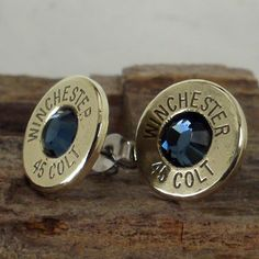 Great western accessory for your favorite date!  -- Colt 45  Ultra Thin Bullet Earrings Midnight Blue by ShellsNStuff, $14.99