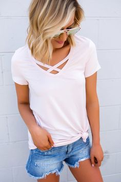Cross Front Short Sleeve Top- Light Pink