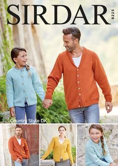Sirdar 8225 Family Cardigans in Sirdar Country Style DK or equivalent. Uses Double Knitting weight yarn. Sizes years to adult x-large. Shawl Collar Cardigan, Cardigan Pattern, Knit Cardigan, Cardigans For Women, Jackets For Women, Double Knitting, 6 Years, Mens Fitness, Knitting Patterns