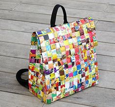 Backpack made of candy wrappers  Free standard shipping  Upcycling by Milo >>> Read more info by clicking the link on the image. #Handmadehandbags