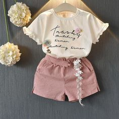 Melario Girls Clothing Sets New Summer Cotton Vest Two-piece Kid Clothes Set Cartoon Children Clothing Toddler Girl Tops+Shorts Kids Outfits Girls, Cute Girl Outfits, Kids Girls, Baby Girls, Girls Fit, Baby Girl Shirts, Kids Suits, T Shirt And Shorts, Pink Shorts