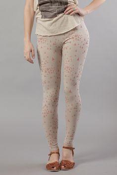 Mociun leggings - ecru with pink triangle print