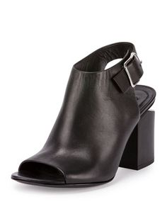 Nadia Leather Open-Toe Bootie, Black by Alexander Wang at Neiman Marcus.