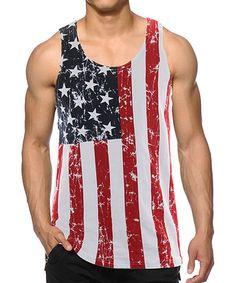 Look at this #zulilyfind! Distressed American Flag Tank - Men by Calhoun Sportswear #zulilyfinds