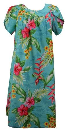 4ad28ec7eeb RJC Women s Majestic Grove Tea Length Hawaiian Muumuu House Dress  fashion   clothing  shoes