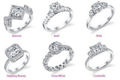 Disney engagement rings Love the Snow white!