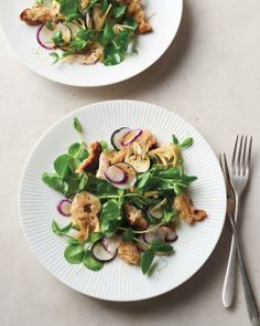 Pea-Shoot and Baby-Artichoke Salad with Parmesan Croutons Recipe