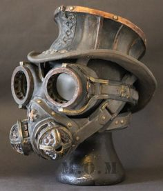 Steampunk mask Hat,Goggles and Respirator mask