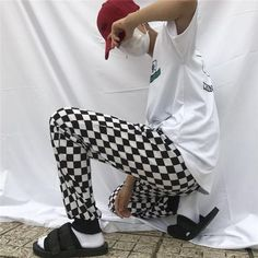 Casual Retro Style Black And White Plaid Pants New Fashion Street Men And Women INS Checkered Korean Style Straight Trousers - Hot Products Plaid Pants, Casual Pants, Men Pants, New Fashion, Retro Fashion, Harajuku, Streetwear Summer, Straight Trousers, Street Style Trends