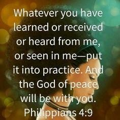 The peace of God will be with you...
