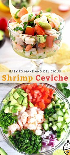 This No Cooking Required Mexican-inspired Shrimp Ceviche is light, fresh and full of flavor. Citrus marinated shrimp, tomatoes, cucumbers, onions, avocado and jalapenos make the most delicious and easy to make ceviche ever! Serve it with tortilla chips or crackers. #easy #recipe #keto #lowcarb #healthy #lemonblossoms #Mexican #appetizer #glutenfree Easy Fish Recipes, Shrimp Recipes, Beef Recipes, Easy Meals, Healthy Recipes, Fancy Dinner Recipes, Supper Recipes, Lunch Recipes, Shrimp Ceviche