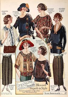 1923 Blouses and Skirts Sears, Roebuck and Co. 20s Fashion, Fashion History, Art Deco Fashion, Vintage Fashion, 1920s Outfits, Vintage Outfits, Vintage Dress, Vintage Clothing, 1920 Women