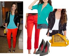 Bad Joan ...it's good to be bad!: color blocking: JESSICA ALBA RED PANTS TURQUOISE TOP YELLOW CROSS BODY BAG