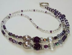 Purple/Amethyst, Swarovski Crystal Mix And Antique Silver Accented Lanyard<>Stunning Lanyard To Accessorize<>Dressy ID Badge Holder<>